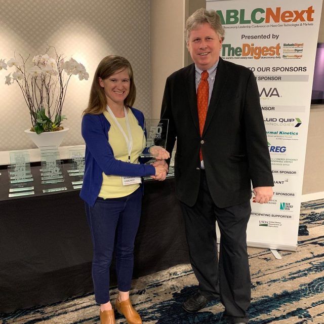 "Thrilled to be listed as one of the ""50 Next"" companies to disrupt the world. @anneschauergimenez picking up the award from #biofuelsdigest. #ablcnext #disruptivetechnology"
